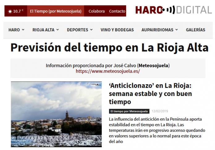 Portada Harodigital.com 12022019 Meteosojuela. La Rioja