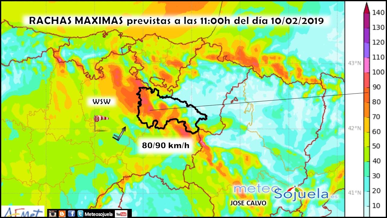 Rachas Máximas de viento modelo HARMONIE.Meteosojuela jpg