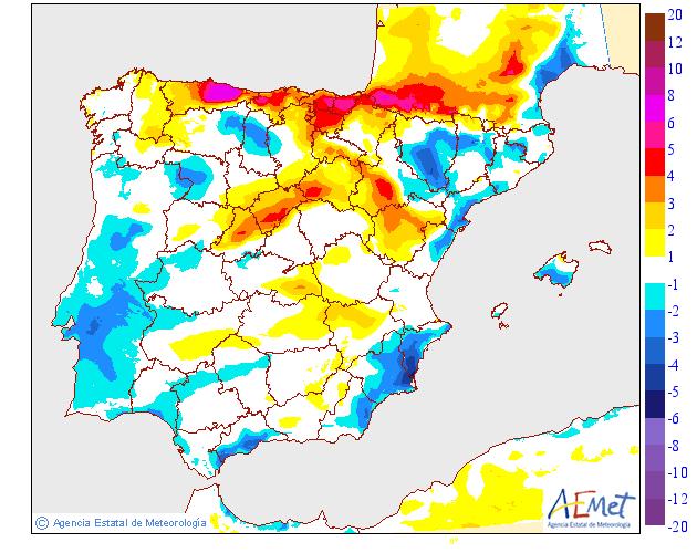 Variación de temperaturas máximas AEMET 0802. Meteosojuela