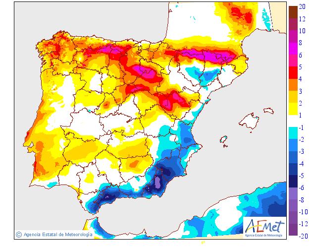 Variación de temperaturas máximas AEMET 12 . Meteosojuela