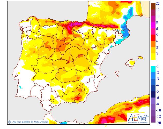 Variación de temperaturas máximas AEMET 13. Meteosojuela