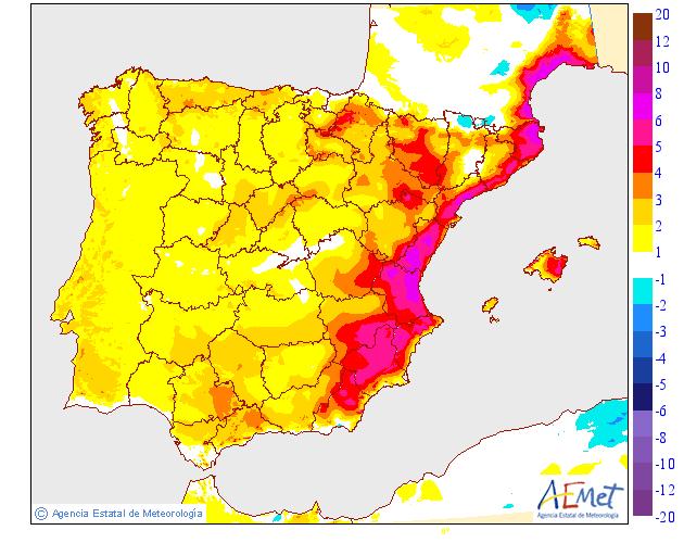 Variación de temperaturas máximas AEMET 22. Meteosojuela