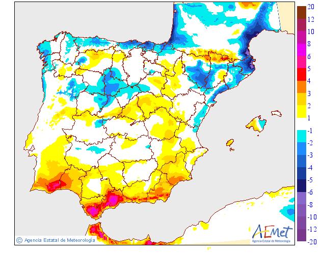 Variación de temperaturas máximas AEMET 23. Meteosojuela