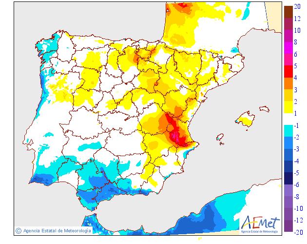 Variación de temperaturas máximas AEMET 25. Meteosojuela