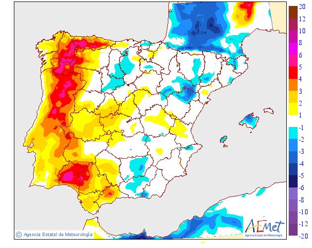 Variación de temperaturas máximas AEMET. 19 Meteosojuela La Rioja