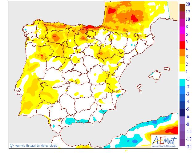 Variación de temperaturas máximas AEMET. 20 Meteosojuela La Rioja