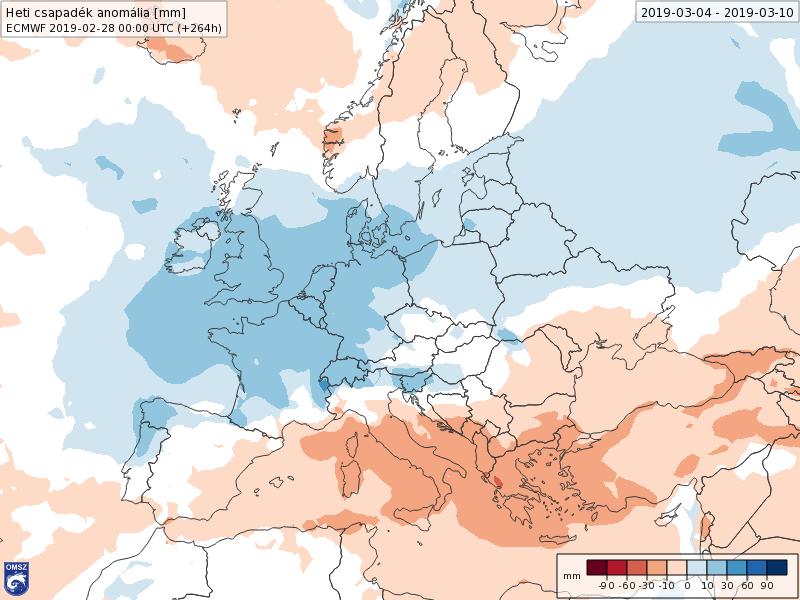 Anomalías Precipitación Marzo 1 semana ECMWF