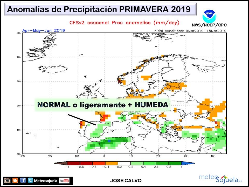 Anomalías Precipitación Primavera 2019 CFS. Meteosojuela