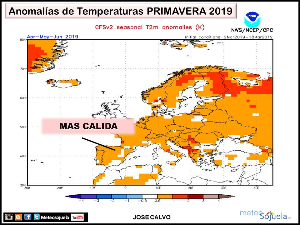 Anomalías Temperatura Primavera 2019 CFS. Meteosojuela