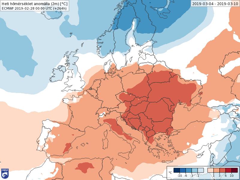 Anomalías Temperaturas Marzo 1 semana ECMWF