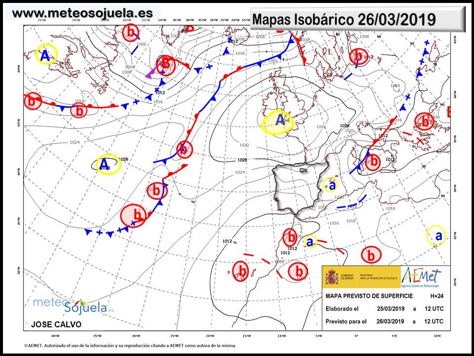Mapa isobárico AEMET. Meteosojuela La Rioja