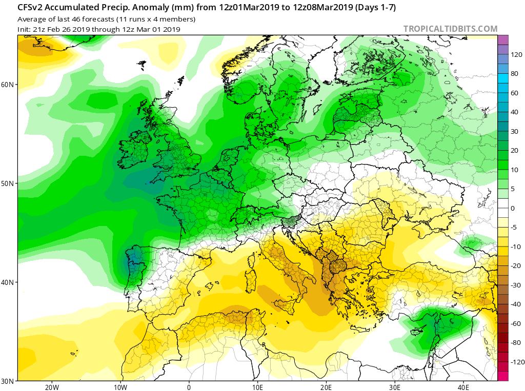 Modelos de Precipitación semanales Marzo GFS 1S Jose Calvo. Meteosojuela La Rioja.