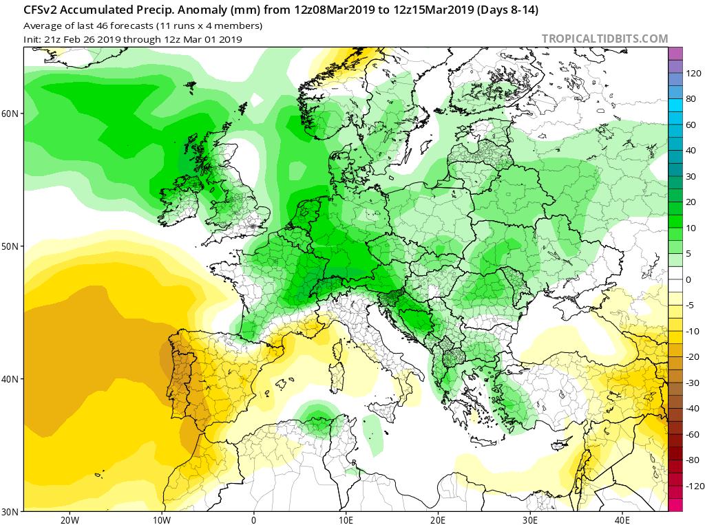 Modelos de Precipitación semanales Marzo GFS 2S Jose Calvo. Meteosojuela La Rioja.