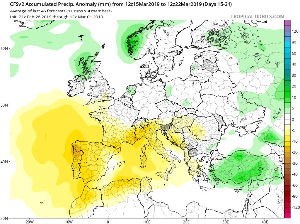 Modelos de Precipitación semanales Marzo GFS 3S Jose Calvo. Meteosojuela La Rioja.