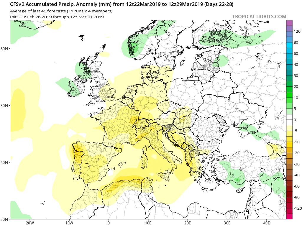 Modelos de Precipitación semanales Marzo GFS 4S Jose Calvo. Meteosojuela La Rioja.
