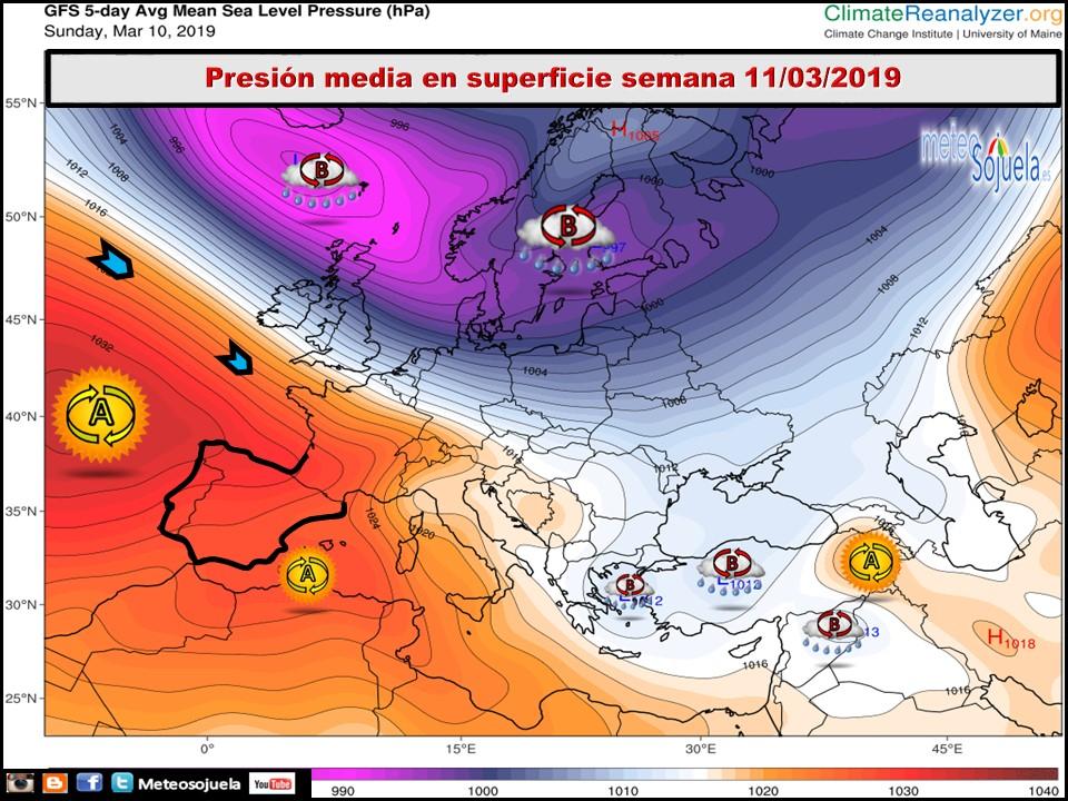 Modelos de presión media en Superficie. Meteosojuela La Rioja