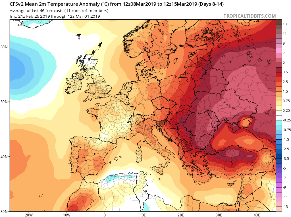 Modelos de temperaturas semanales Marzo GFS 2S Jose Calvo. Meteosojuela La Rioja.