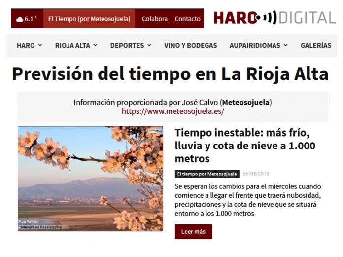 Portada Harodigital.com 05032019 Meteosojuela. La Rioja
