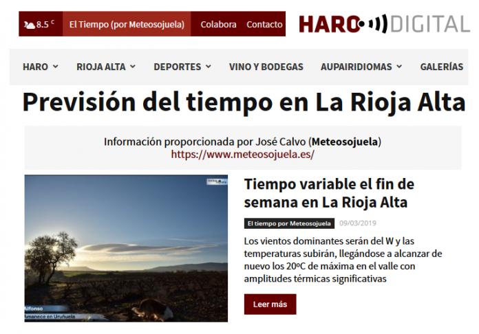 Portada Harodigital.com 09032019 Meteosojuela. La Rioja