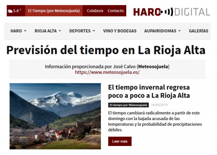 Portada Harodigital.com 16032019 Meteosojuela. La Rioja