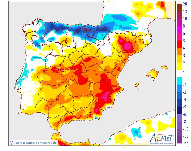 Variación de temperaturas máximas AEMET 10. Meteosojuela
