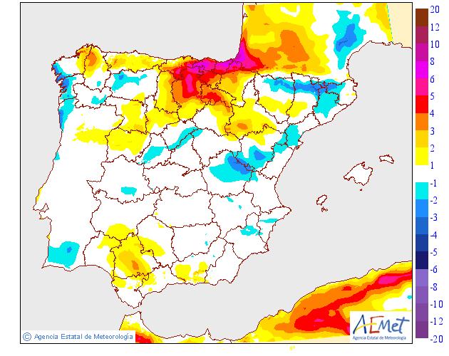 Variación de temperaturas máximas AEMET 29 . Meteosojuela