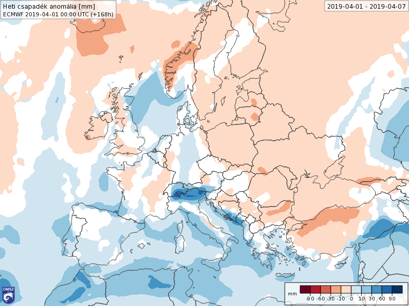 Anomalías Precipitación Abril 1 semana ECMWF