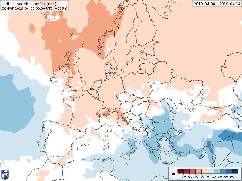 Anomalías Precipitación Abril 2 semana ECMWF