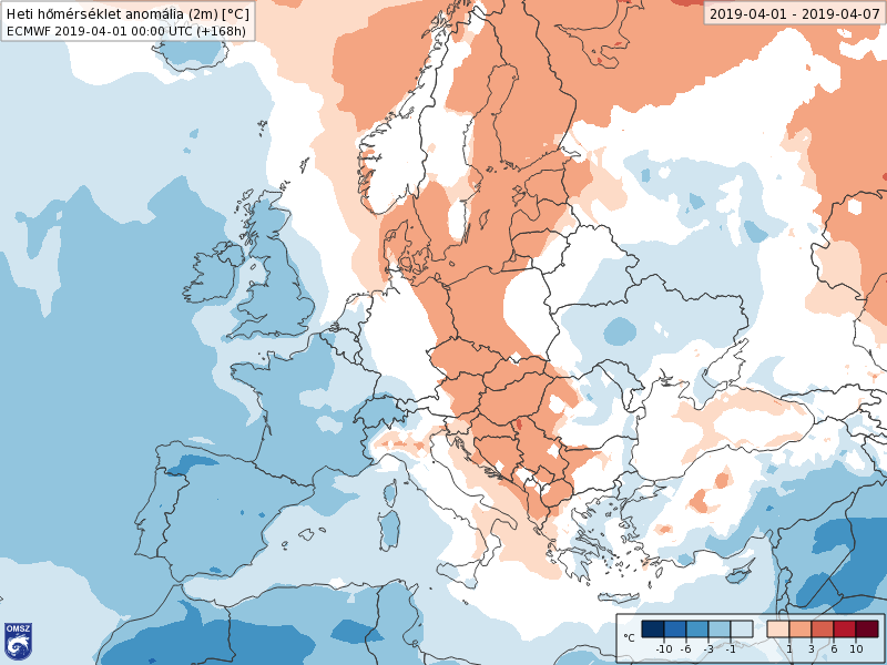 Anomalías Temperaturas Abril 1 semana ECMWF