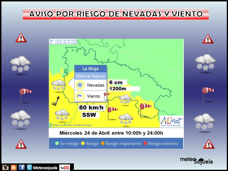 Aviso Amarillo Viento y nieve AEMET. Meteosojuela