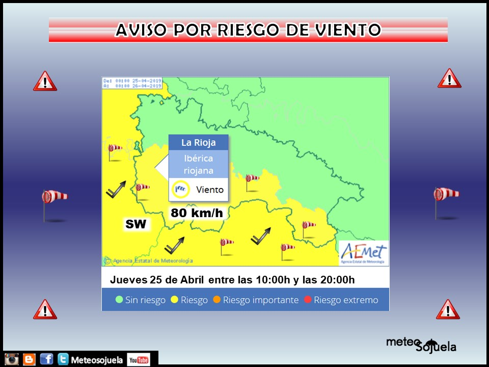 Aviso Amarillo Viento y nieve AEMET.25 Meteosojuela