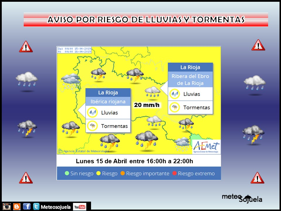 Avisos amarillo por lluvias y tormentas. AEMET. Meteosojuela