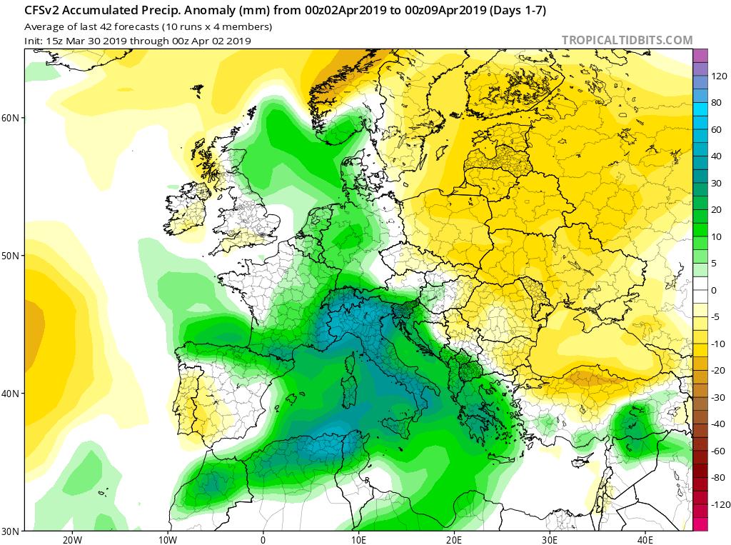 Modelos de precipitaciones semanales Abril GFS 1S Jose Calvo. Meteosojuela La Rioja.