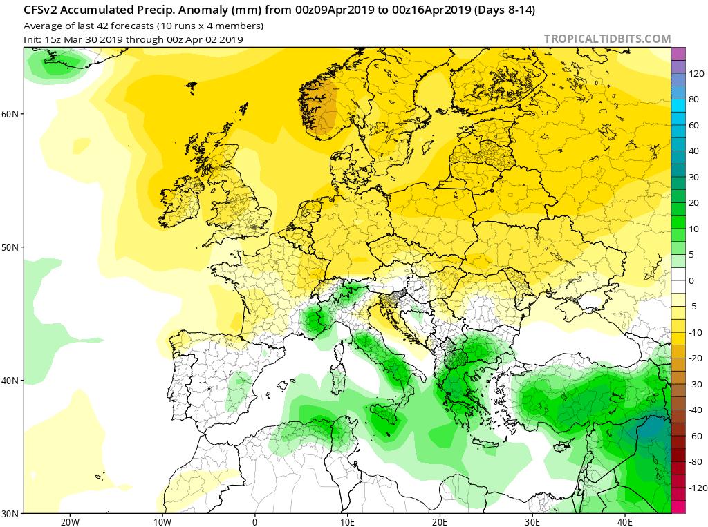 Modelos de precipitaciones semanales Abril GFS 2S Jose Calvo. Meteosojuela La Rioja.