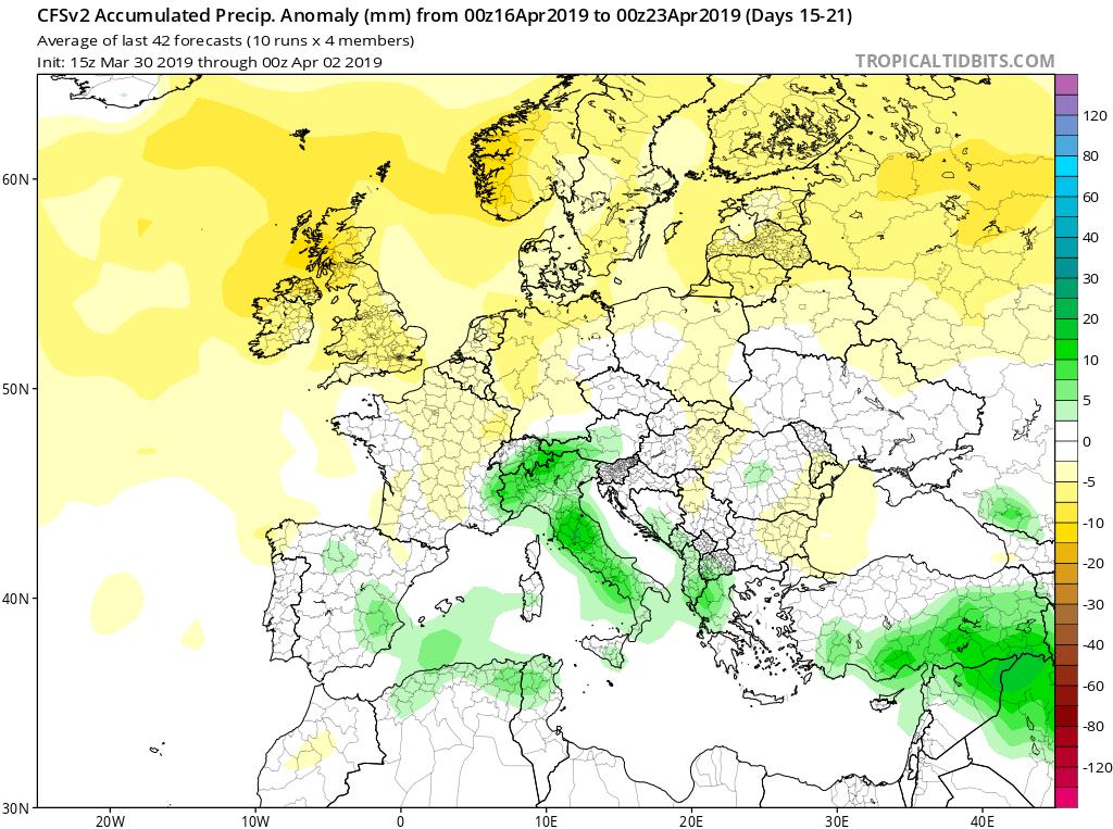 Modelos de precipitaciones semanales Abril GFS 3S Jose Calvo. Meteosojuela La Rioja.