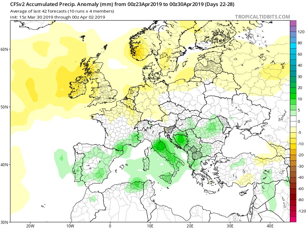 Modelos de precipitaciones semanales Abril GFS 4S Jose Calvo. Meteosojuela La Rioja.