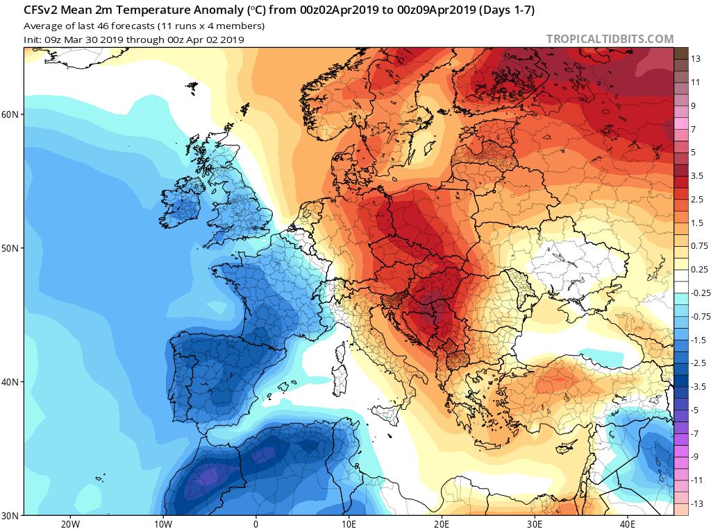 Modelos de temperaturas semanales Abril GFS 1S Jose Calvo. Meteosojuela La Rioja.