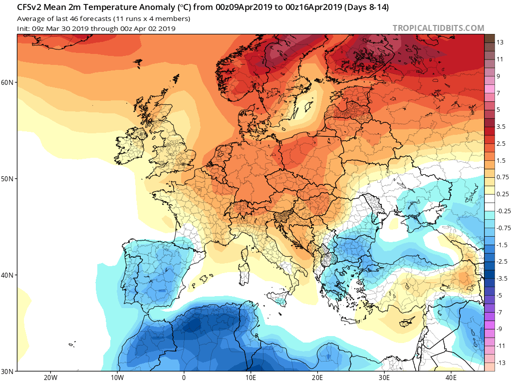 Modelos de temperaturas semanales Abril GFS 2S Jose Calvo. Meteosojuela La Rioja.