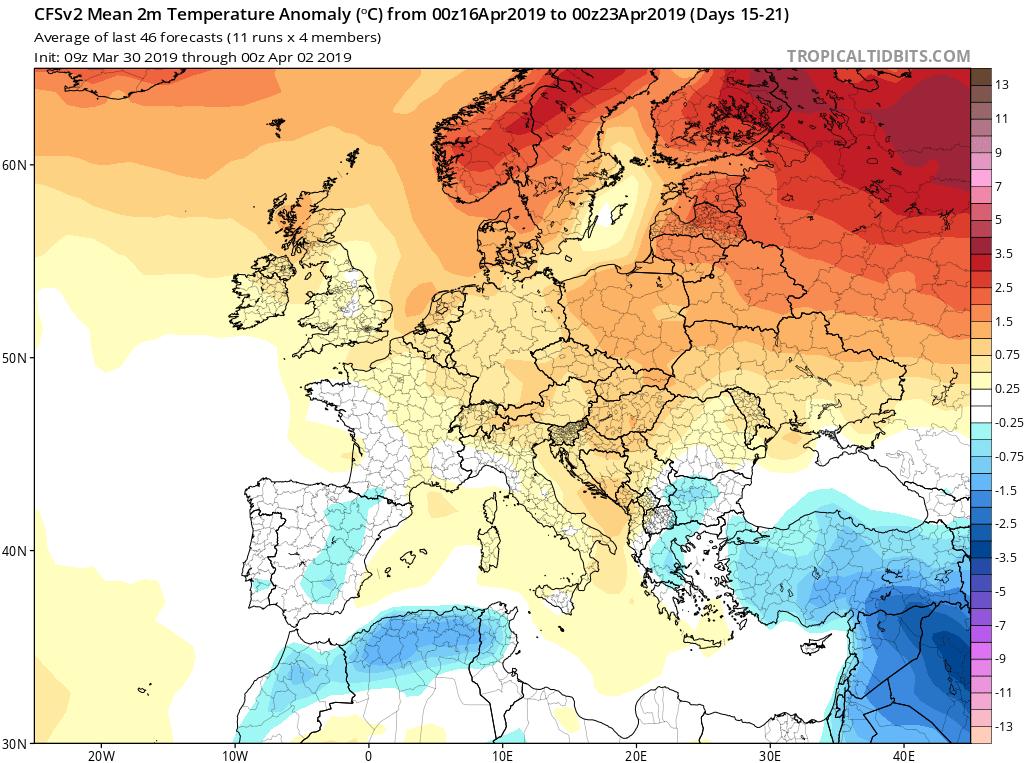Modelos de temperaturas semanales Abril GFS 3S Jose Calvo. Meteosojuela La Rioja.