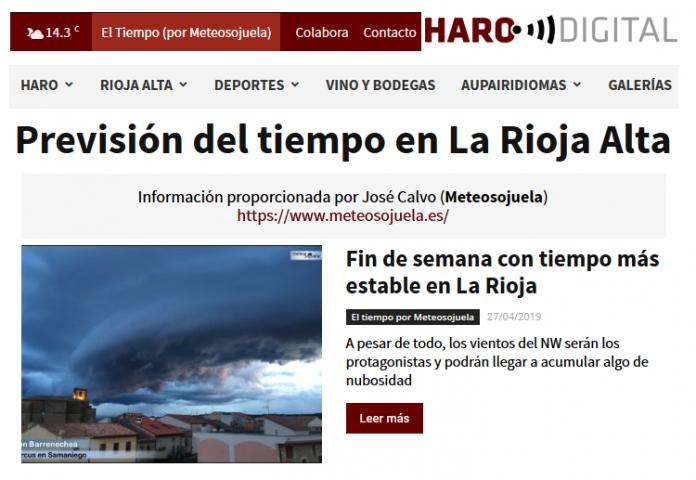 Portada Harodigital.com 27042019 Meteosojuela. La Rioja