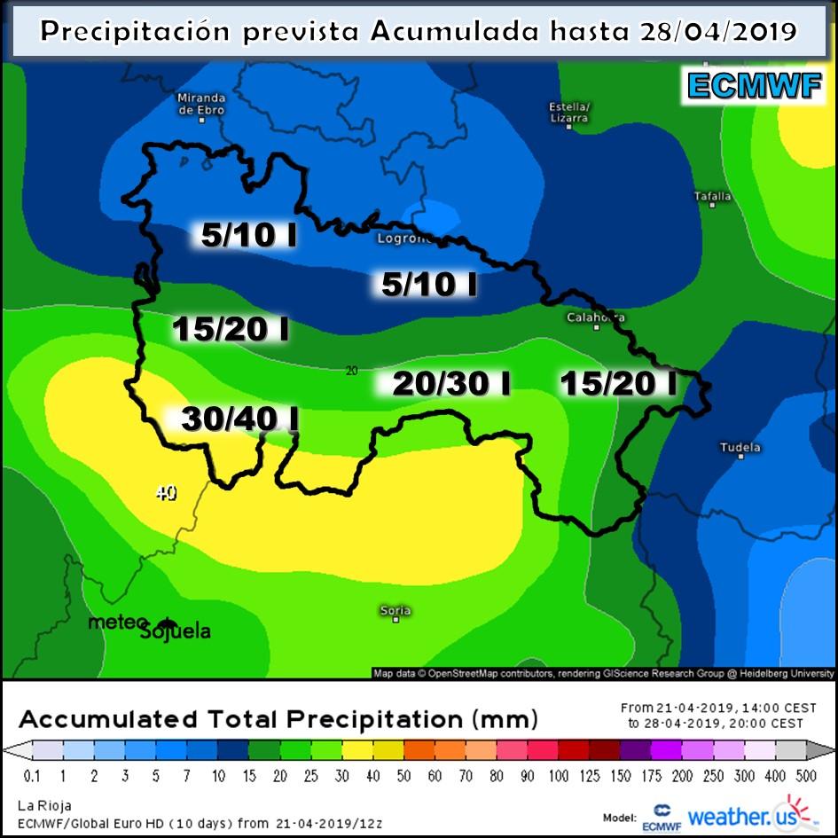 Precipitación acumulada ECMWF. Meteosojuela