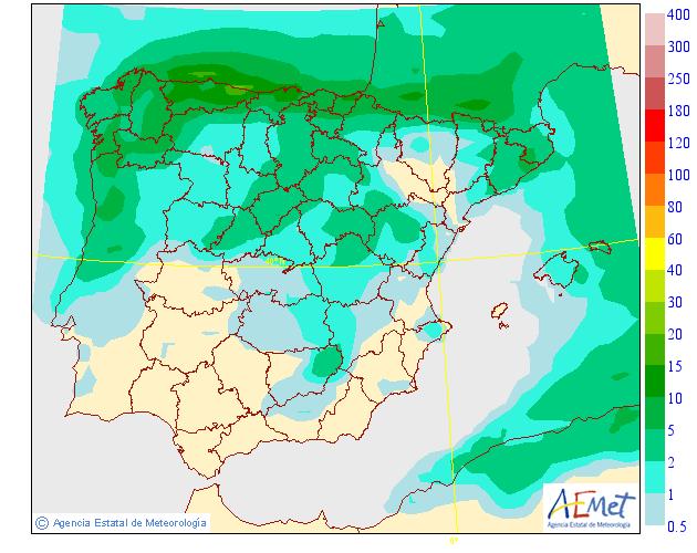 Precipitación media AEMET. 10 Meteosojuela La Rioja