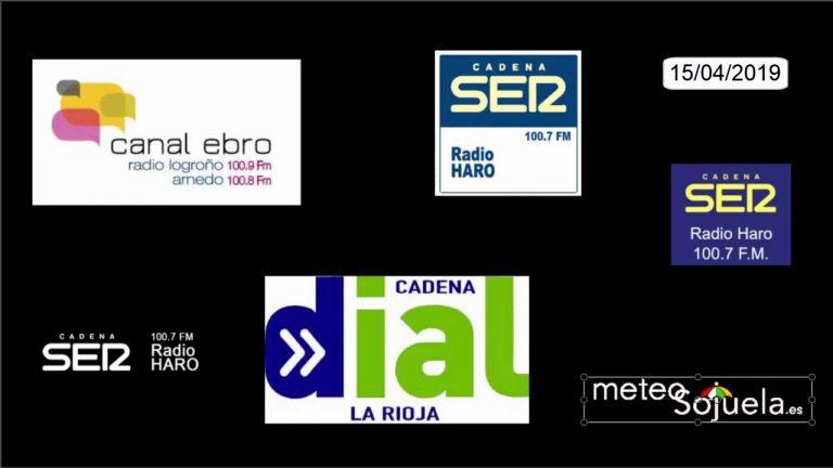 Meteosojuela en la radio. RADIO HARO. Hoy por Hoy en la Cadena SER. 15/04/2019