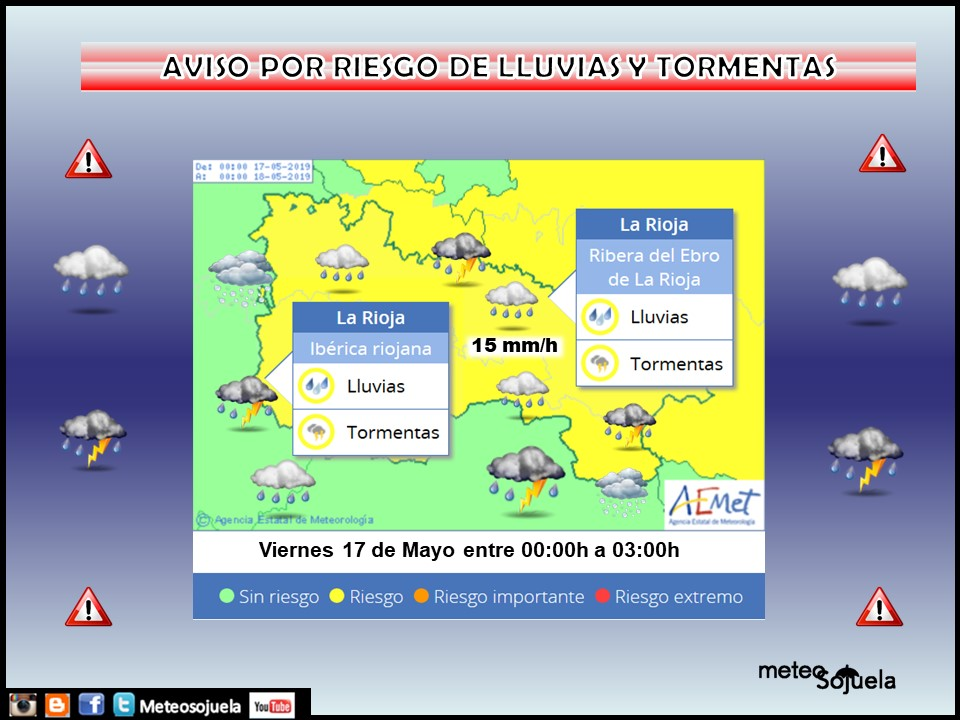 AVISO Amarillo Lluvias y Tormentas AEMET.Meteosojuela