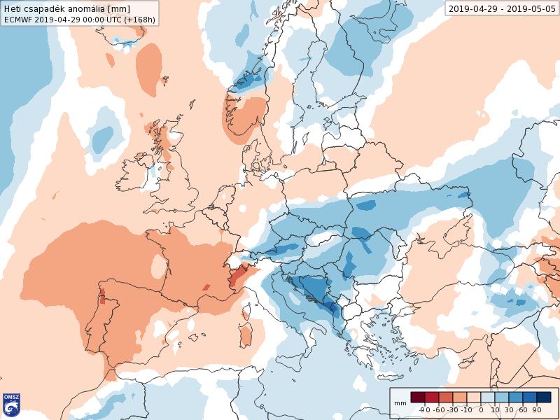 Anomalías Precipitación Mayo 1 semana ECMWF