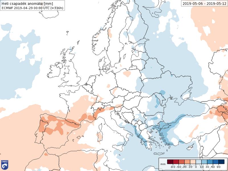 Anomalías Precipitación Mayo 2 semana ECMWF