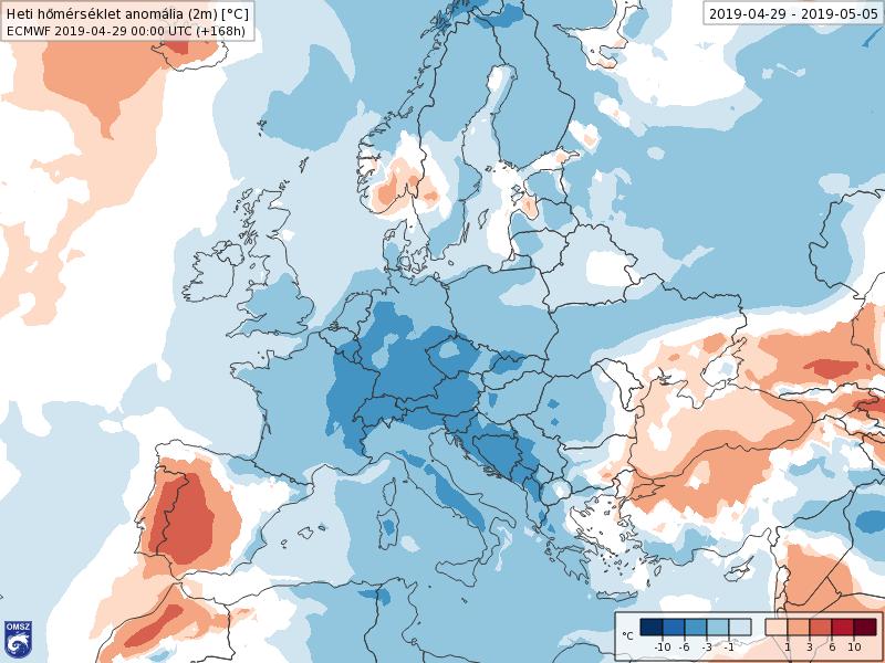 Anomalías Temperaturas Mayo 1 semana ECMWF