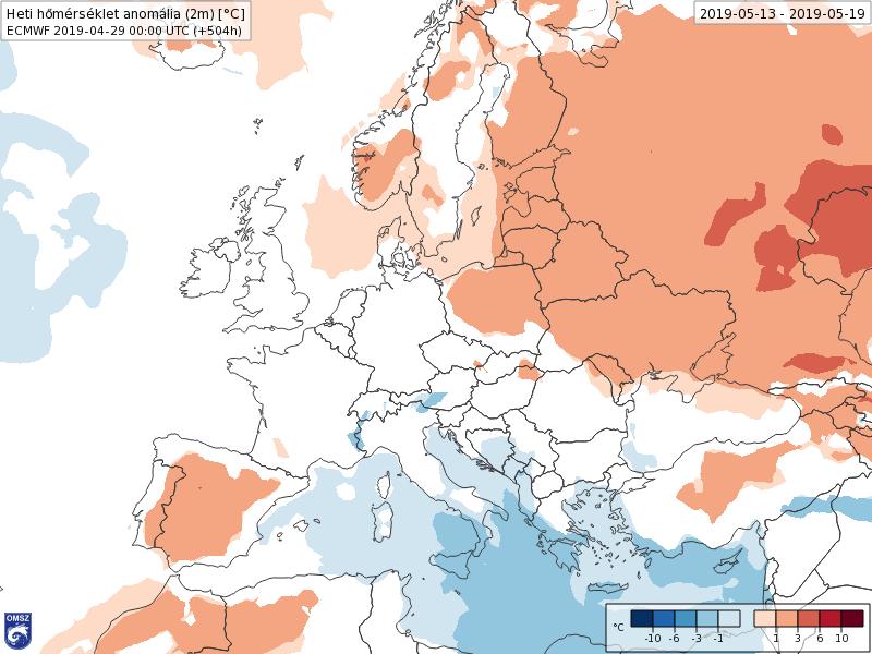 Anomalías Temperaturas Mayo 3 semana ECMWF