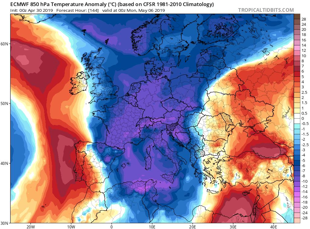 Anomalías temperaturas ECMWF. Meteosojuela