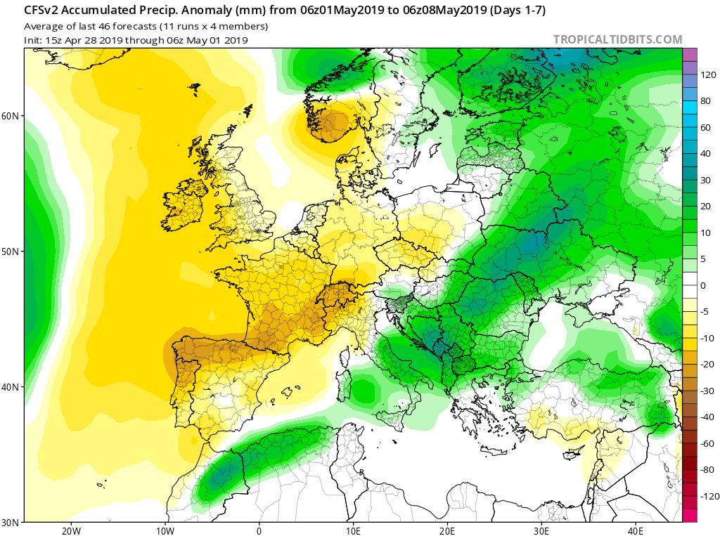 Modelos de precipitaciones semanales Mayo GFS 1S Jose Calvo. Meteosojuela La Rioja.